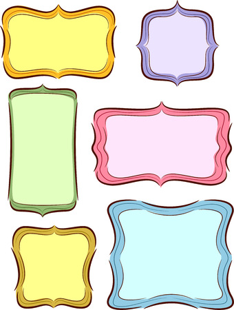 Illustration of Ready to Print Labels in Different Shapes Stock Photo