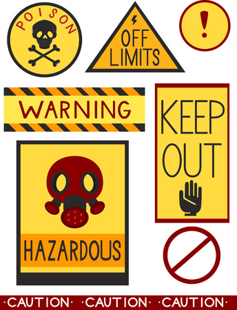 keepout: Illustration of Ready to Print Labels Containing Different Warnings