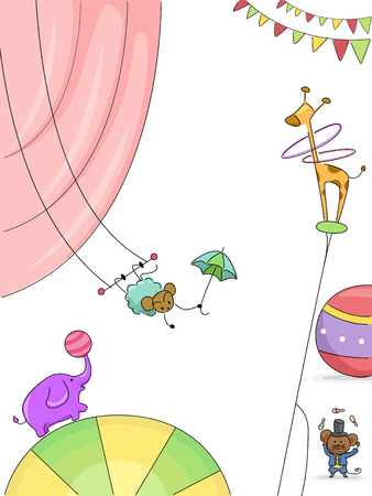 Background Illustration Featuring Animals Performing in the Circus Stock Illustration - 22618455