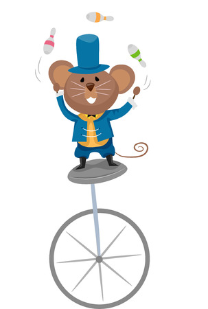 unicycle: Illustration of a Mouse Juggling Bowling Pins While Riding a Unicycle