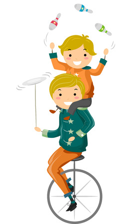 unicycle: Illustration Featuring a Father and Son Riding a Unicycle While Juggling Bowling Pins and Balancing a Plate