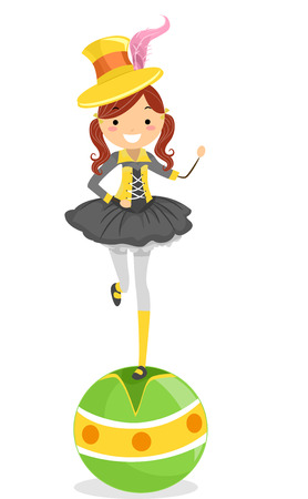 Illustration of a Female Circus Performer Standing on Top of a Balancing Ball illustration