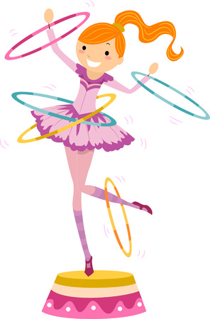 hulahoop: Illustration of a Female Circus Performer Twirling Hoops While Standing on a Platform