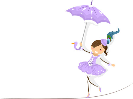 performers: Illustration of a Female Circus Performer Walking on a Tightrope