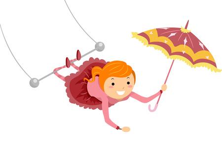 Illustration d'un Artiste de cirque Femme faisant des cascades de Trapeze Banque d'images
