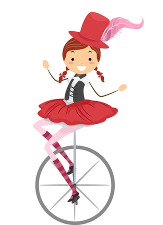 Illustration of a Female Circus Performer Riding a Unicycle illustration
