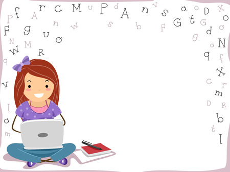 girl with laptop: Background Illustration Featuring a Girl Using a Laptop