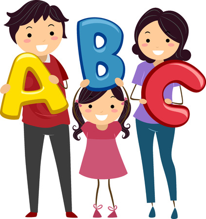 Illustration of a Stickman Family Holding Letters of the Alphabet Stock Illustration - 22618465