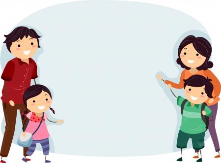 bonhomme allumette: Bannière Illustration d'une famille de Stickman heureux