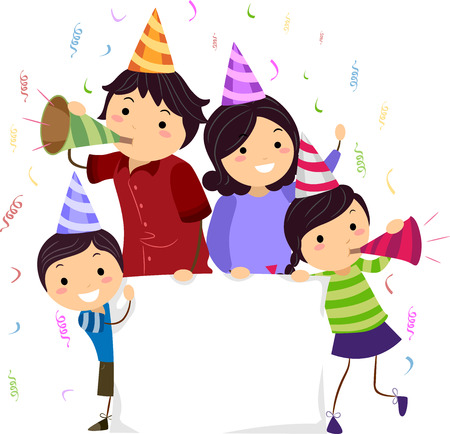 Banner Illustration of a Stickman Family Wearing Party Hats and Blowing Noisemakers illustration