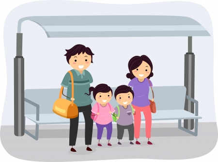 Illustration of a Stickman Family Waiting at a Bus Stop illustration