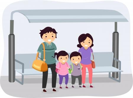 parada de autobus: Ilustración de una familia Stickman esperaba en una parada de autobús
