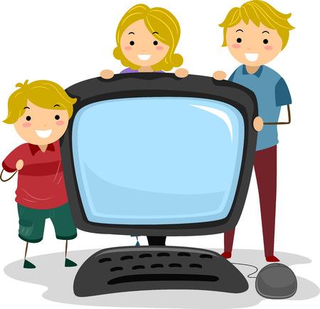 bonhomme allumette: Illustration d'une famille de Stickman posant avec un ordinateur de bureau g�ant