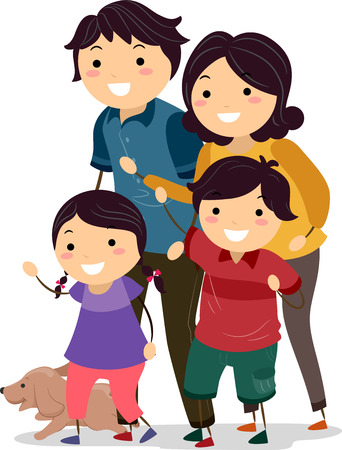 Illustration of a Stickman Family Looking to Their Right Before Crossing the Street illustration