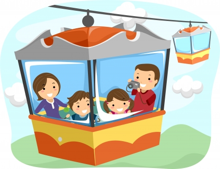 Illustration of a Stickman Family Riding a Cable Car illustration