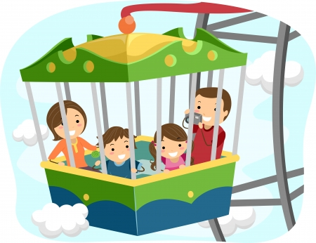 taking picture: Illustration of a Stickman Family Inside the Passenger Car of a Ferris Wheel