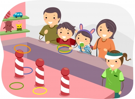 family playing: Illustration of a Stickman Family Playing Ring Toss