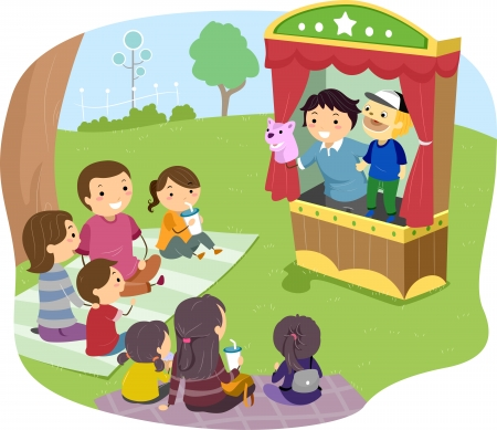 show time: Illustration of a Stickman Family Watching a Puppet Show