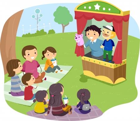 Ilustración de una familia Stickman Ver un espectáculo de marionetas Foto de archivo - 22618474