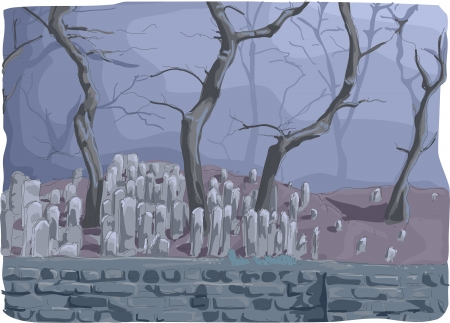 arboles secos: Ilustración de un cementerio de medio lleno de lápidas y enmarcado por árboles muertos envueltos en una espesa niebla