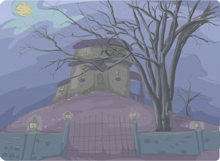 ghastly: Illustration of a Creepy Haunted House Covered in Thick Mist and Framed by Dead Trees in the Background