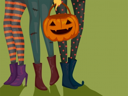 halloween costume: Halloween Illustration of Girls Wearing Halloween Costumes and Carrying a Trick or Treat Bag Stock Photo