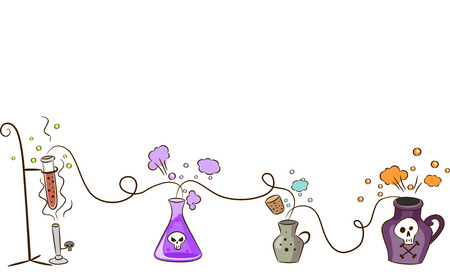lined up: Border Illustration Featuring Different Potions Lined Up Together