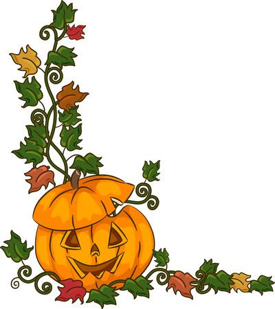 corner design: Border Illustration Featuring a Jack-o-Lantern Surrounded by Vines