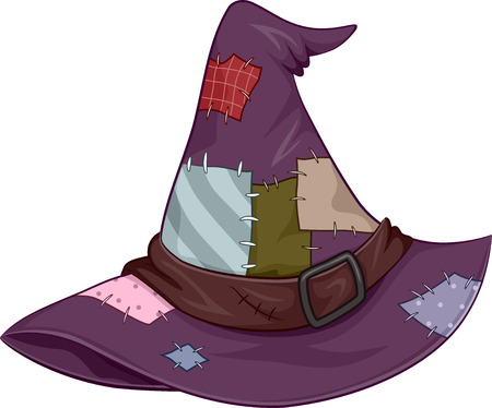 patched: Illustration of a Tattered Witch Hat Covered in Patches Stock Photo