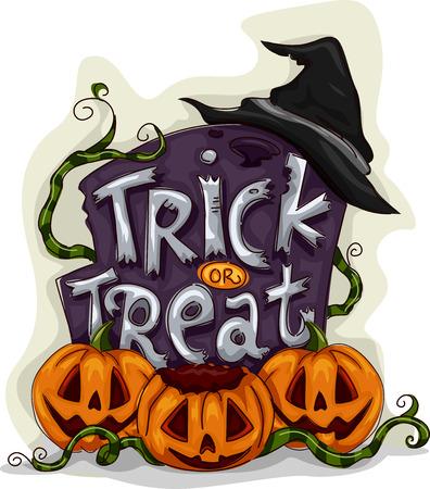 citrouille halloween: Halloween Illustration d'une pierre tombale avec bonbons ou un sort �crit sur elle