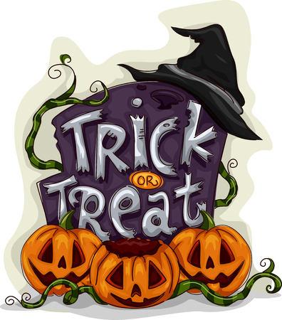 halloween witch: Halloween Illustration of a Tombstone with Trick or Treat Written on It