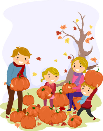 vegetable cartoon: Illustration of a Stickman Family Carrying Pumpkins Stock Photo
