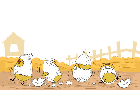 cracked egg: Illustration of Cute Chicken Hatchlings Still Partially Covered by Cracked Egg Shells Stock Photo