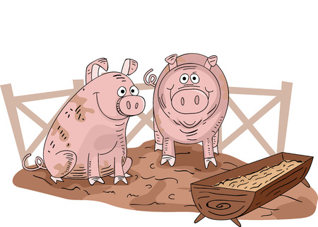 trough: Illustration of a Pair of Muddy Pigs Inside a Pigpen