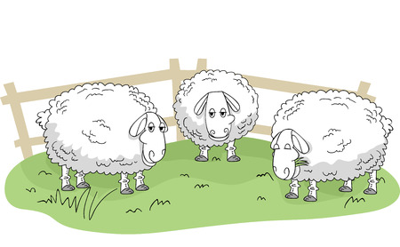 wooly: Illustration of Wooly Sheeps Standing on a Patch of Grass