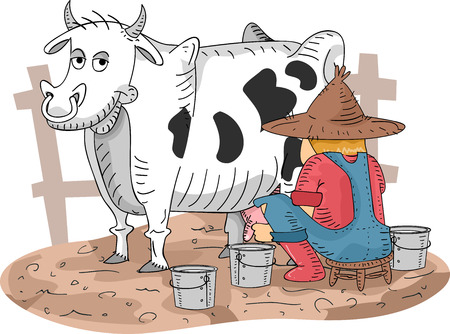 milking: Illustration of a Farmer Milking His Cow
