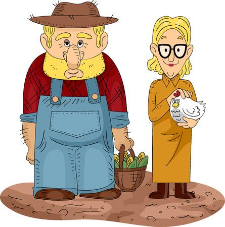 Ehefrauen: Illustration eines Land Paar mit einem Huhn und einem Korb von Mais
