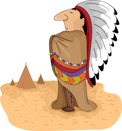 Illustration of a Native American Tribal Chief Standing with His Arms Akimbo illustration