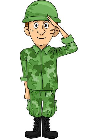salut: Illustration av en uniformerad Solder gör en hand Salute Stockfoto