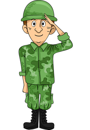 courage: Illustration of a Uniformed Solder Doing a Hand Salute Stock Photo