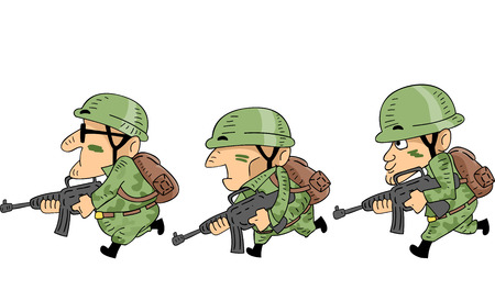 tired cartoon: Illustration of Camouflaged Soldiers Mounting an Attack Stock Photo
