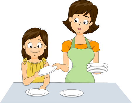 table set: Illustration of a Little Girl Helping Her Mother Set the Table Stock Photo