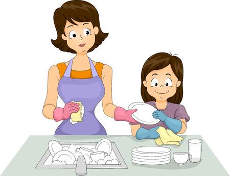 お母さんと一緒にお皿を洗う彼女の娘のイラスト