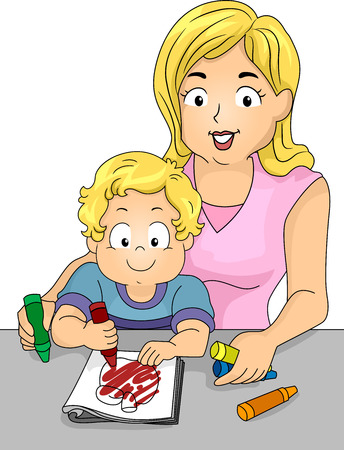 Illustration of a Caucasian Mom Watching Over Her Son Who is Coloring a Page from a Coloring Book illustration
