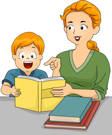 grade schooler: Illustration of a Caucasian Mother Helping Her Son with His Homework Stock Photo