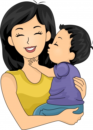 cute clipart: Illustration of a Cute Little Boy Giving His Mom a Kiss on the Cheek