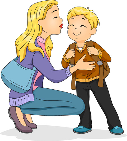 cheek: Illustration of a Caucasian Mother Planting a Kiss on Her Sons Cheek Stock Photo