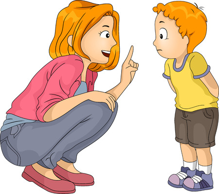 Illustration of a Caucasian Mother Giving Her Son a Lecture Stock Photo