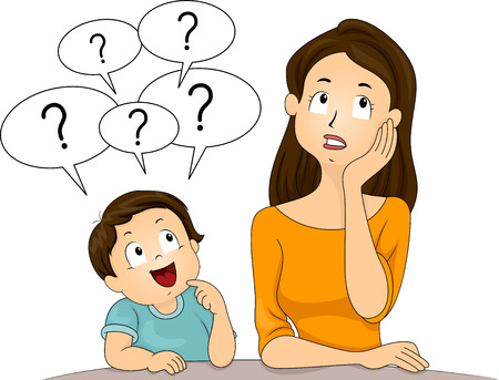 respond: Illustration of a Confused Mom Thinking About How to Respond to Her Sons Questions Stock Photo