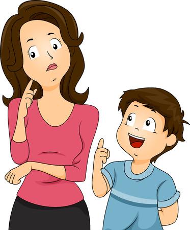 彼女の息子の質問に応答する方法について考えて混乱してお母さんのイラスト